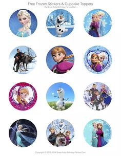 #Frozen Party Free Printables - Invitations, Stickers, Cupcake Toppers, Elsa crown, Anna crown, Printable Games, Coloring Pages and lots more.