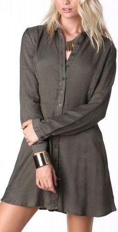 Olive Buttondown Mini Dress ❤︎