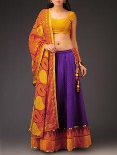 Purple-Orange Swiss-Dot Paisley Printed Half-Saree Set