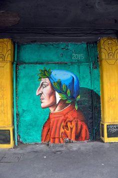 Murale di Mauro Sgarbi dedicato a Dante Alighieri nell'anniversario della sua morte. Esquilino - Roma