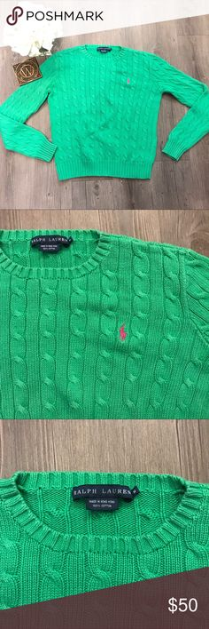 Ralph Lauren Green Cable Knit Sweater Size: Women's Medium Color: Green Design: Cable Knit Neckline: Scoop Sleeves: Long Materials: 100% Cotton  Measurements (approximate) Length: 20 inches Underarm to underarm (laying flat): 20 inches   Condition:Great!Gently pre-owned. No hole, rips or stains. Ralph Lauren Sweaters Crew & Scoop Necks