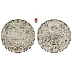 Deutsches Kaiserreich, 1/2 Mark 1911, E, vz-st, J. 16: 1/2 Mark 1911 E. J. 16; vorzüglich-stempelfrisch 95,00€ #coins