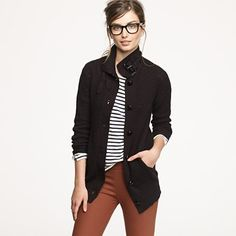 jcrew, clipper cardigan. My inner hipster wants to wear this but balks at the mainstream marketing of products.