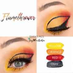 Flamethrower  Eye Quad uses four SeneGence ShadowSense: Yellow, Orange, Red and Onyx ShadowSense .  These cream to powder eyeshadows will last ALL DAY on your eye.  #shadowsense #eyeshadow