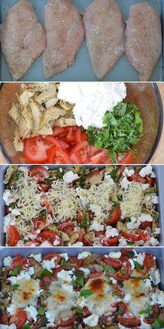Suveræn ret, hvor kyllingen steges i samme fad som tomater, artiskokhjerter og ost.