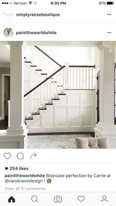 Sharing my stairs for the fun hashie . the hosts would love to see your stairs this week! Luckily my stairs are white so I can also share for ! Stairway Wainscoting, Stairway Walls, Wainscoting Styles, Wainscoting Bathroom, Wainscoating Ideas, Foyer Staircase, Entry Foyer, Staircase Ideas, Coastal Living Rooms