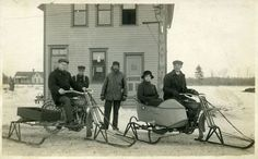 Harley-Davidson motorcycles converted for winter use, circa 1910.