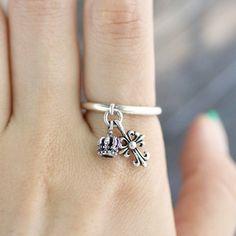 Handmade Cross & Crown Charm Silver Ring by SilverStellaJewel