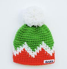duuks Häkelmütze Beanie in grün, weiß und orange mit weißem Bommel 100% Schurwolle Funktionsinnenfleece - windblocker, atmungsaktive,12cm breit in orange