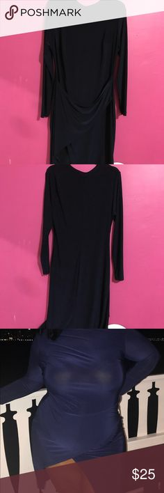 Blue party Dress with killer split Form fitting long sleeve party dress with a split so high you'll turn heads! Worn ONCE Dresses Asymmetrical