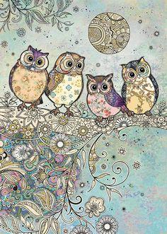 bug art E035 Four Owls greeting card