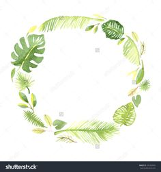 Watercolor tropical leafs frame template 6