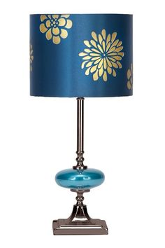 Luxe Living Furniture & Decor  Blue Metal and Glass Table Lamp