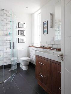 Dark cherry cabinets bathroom contemporary with dark gray floor tile zinc 3 Modern Small Bathroom Id Dark Floor Bathroom, Dark Bathrooms, White Bathroom Cabinets, Upstairs Bathrooms, Wood Bathroom, Bathroom Flooring, Bathroom Interior, Bathroom Ideas, Master Bathroom