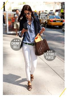 47e47b5627 white denim with a baby blue chambray shirt  an easy   chic way to pull-off  denim-on-denim. finish the outfit off with a blazer for a more  sophisticated ...