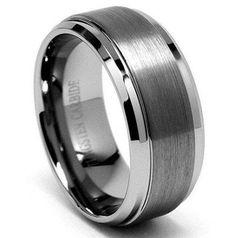 4 mm carbure de tungstène Wedding Band Beveled Edge Plat Centre Brossé Bague