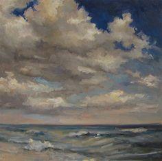 "Barbara Davis ~ ""Sea and Sky"" ~ Oil on Board 12"" x 12"""