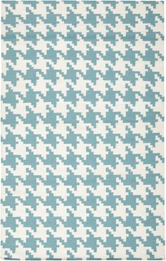 Teal and houndstooth- what a combo! This rug is from the Frontier Collection by Surya which features hand woven flat weave wool rugs that are also reversible. (FT-105)