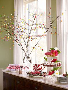 """Grab some branches & make your own """"Gumdrop Tree"""" for a holiday buffet! From Family Circle"""
