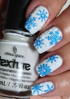 textured snowflake nails