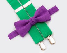 Purple Bow Tie and Green Suspenders Baby Boy Funny Clothes Bowtie For Toddler Christmas Outfit