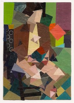KEN KEWLEY Woman with Blue House. 2014 painted paper collage, ballpoint pen, white pencil 6 3/8 x 4 3/8 inches