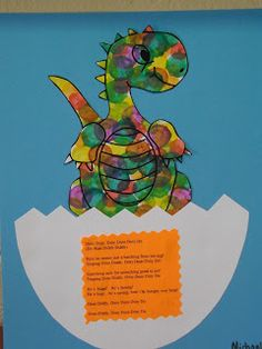 The baby dinosaur is hatching from his egg singing his song! We made these using Bingo Dabbers in our classroom! ~ Sherry