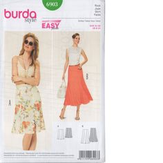 Pattern for Burda Style Skirts Burda Sewing Patterns, Clothing Patterns, Style Patterns, Gored Skirt, Dress Making Patterns, Soft Classic, Summer Skirts, Couture, Pattern Fashion