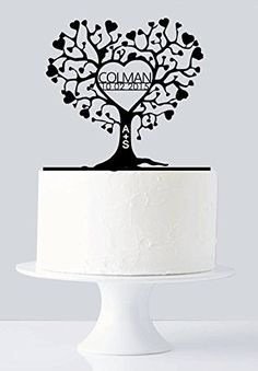 Gold Wedding Cakes Unique Wedding Cake Topper - Gold Love Tree Cake Topper - Very Unique Custom Last Name Gold Cake Topper, Monogram Cake Toppers, Custom Wedding Cake Toppers, Wedding Topper, Unique Wedding Cakes, Unique Weddings, Wedding Ideas, Cake Wedding, Wedding Jobs