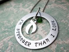 Green Ribbon Necklace Cerebral Palsy Mental by HandmadeLoveStories, $8.00