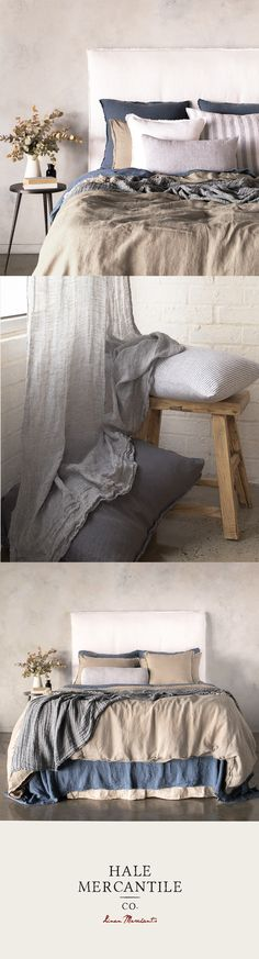 Hale Mercantile Co. pure linen collection - Pure linen bedding so simple yet so opulent – it might just persuade you to stay in bed all day. Industrial Style Bedroom, French Industrial, Bedroom Furniture, Bedroom Decor, Bedding Decor, Cute Bedroom Ideas, Master Bedroom Design, Reno, Bedroom Styles