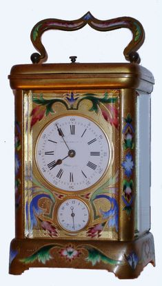 Antique Carriage Clock Gold with Floral Design Front, Back and Sides Unsigned