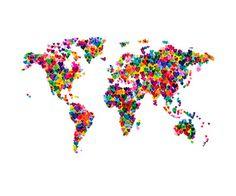 Love Hearts Map of the World Impressão giclée premium por Michael Tompsett na AllPosters.com.br