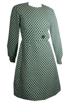 Mega Mod Grass Green Lattice Weave High Waist Dress circa 1970s - Dorothea's Closet Vintage