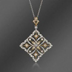 "Ross-Simons - Simon G. .83 ct. t.w. Fancy Diamond Pendant Necklace in 18kt Two-Tone Gold. 17"" - #813248"