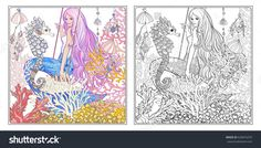 Hand drawn mermaid with long pink hair in underwater world. Stock line vector illustration. Outline drawing. Outline hand drawing coloring page for adult coloring book with coloured sample.