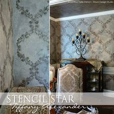 Stenciled Dining Room Wall | Acanthus Trellis Wall Stencil | Project by Tiffany Alexander