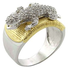 Lizard / Frog Silver and 18k Gold Cubic Zirconia Ring