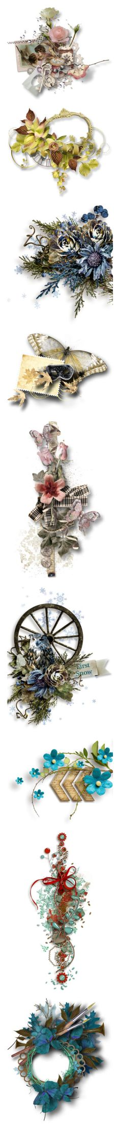 """Digital Scrap"" by borislava-zo3bi ❤ liked on Polyvore featuring clusters, flowers, frame, filler, backgrounds, borders, picture frame, winter, cluster frames and butterflies"