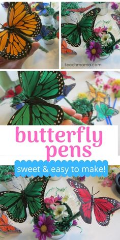 Butterfly pens are super easy to make, and they're easy, too! Kids can make them, and they're a great gift for Mother's Day, for Teacher Appreciation Week, or for any occasion.   A fun way to kick up the regular, ole, flower pen, these butterfly pens are a sweet, springtime craft any day of the year!