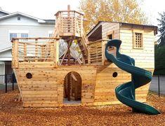 Backyard Playset, Backyard Playhouse, Build A Playhouse, Backyard Playground, Backyard For Kids, Shed Windows, Firewood Shed, Studio Shed, Casas Containers