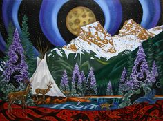 K Neil Swanson UNDER THE MOON, OVER THE BOW Canada House, Under The Moon, Canadian Art, Four Legged, Art Ideas, Wings, Spirit, Bows, Landscape