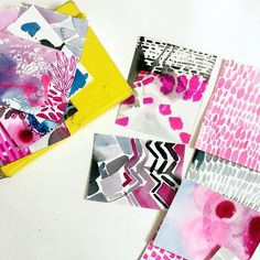 playing with smaller pieces of paper, experimenting with patterns and mark making. Helen Wells