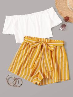 Multicolor Off Shoulder Top and Self Belted Shorts Set - Summer Outfits Cute Teen Outfits, Cute Comfy Outfits, Pretty Outfits, Stylish Outfits, Cute Summer Outfits For Teens, Cute Outfits With Shorts, Teenage Outfits, Outfits 2016, Emo Outfits