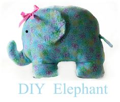 Adorable!!! DIY Stuffed Animal Elephant! She has a lot of other cute stuffed animal tutorials & free patterns in her sewing section too. LOVE!