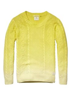 scotch & soda -Cable knitted crew neck pull - sunburst - XXL