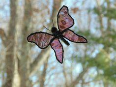 Butterfly stained glass suncatcher purple #suncatcher #butterfly  by DesignsStainedGlass