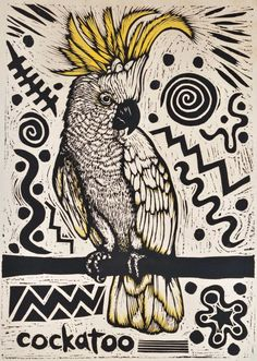 Cockatoo. Bruce Goold, b.1948 Aust. 1986. Hand-coloured linocut. Background is so 80's,but with great detail on bird. Light hand coloring