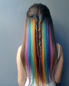 We've gathered our favorite ideas for 18 Mesmerizing Hidden Rainbow Hair Hair And Beauty, Explore our list of popular images of 18 Mesmerizing Hidden Rainbow Hair Hair And Beauty in rainbow colored hair. Rainbow Hair Highlights, Blonde Highlights, Pretty Hairstyles, Braided Hairstyles, Rainbow Hairstyles, Hairstyle Ideas, Hair Ideas, Latest Hairstyles, Cabelo Ombre Hair