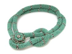Inspiration: Miriam Haskell Turquoise Necklace (Strung Beads Wrapped - not crocheted)